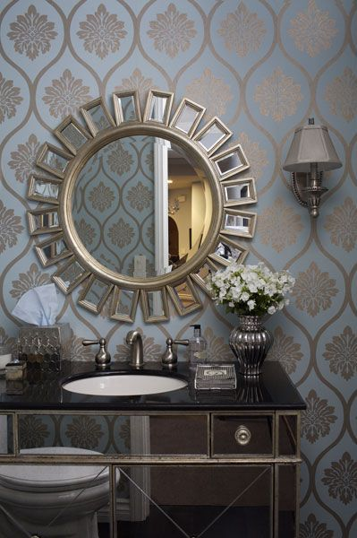 Jenn Feldman Designs Chic Wallpaper In Bathroom