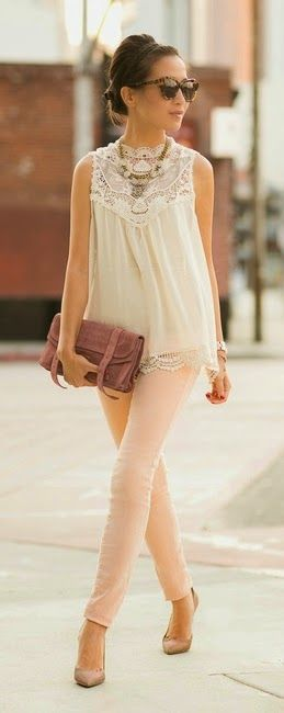 White Sleeveless Lace Blouse with Blush Pant and G...