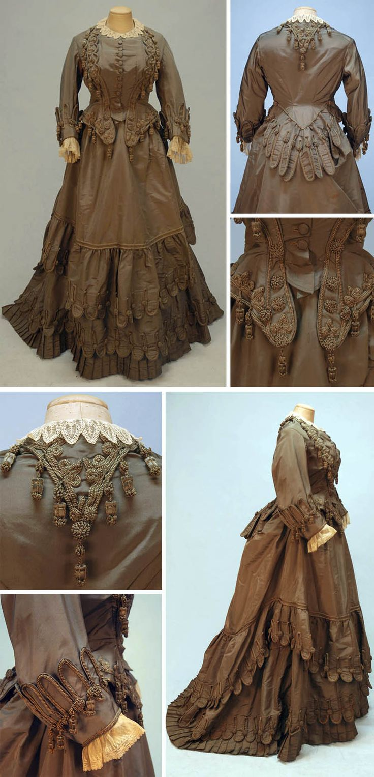 Afternoon gown, French (sold by Bon Marché), ca. 1880. Three-piece mushroom silk faille with scallops, braiding, and tassels. Semi-boned peplum bodice with self buttons and lace trim. Trained skirt with deep hem ruffle above pleats with matching overskirt. Whitaker Auctions