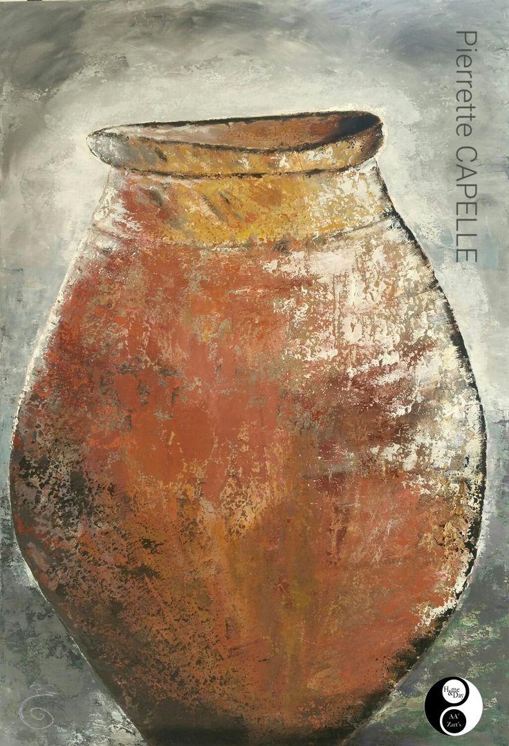 """Pierrette CAPELLE """"Jarre"""" acrylique sur toile 130x90 en Expo AA'Zart'S #peinture #gallery #sartene"""