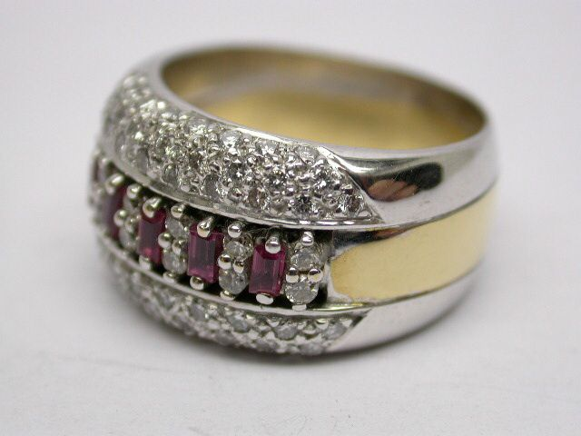 BEFORE 18ct yellow and white gold diamond and ruby dress ring