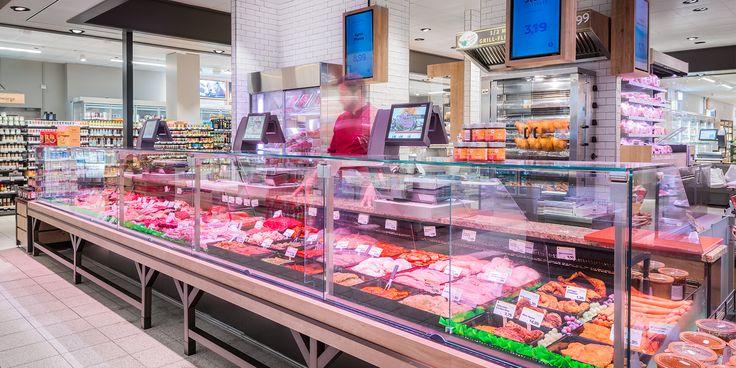 Cardan Solo è il proiettore che offre luce intelligente nel reparto carni del negozio EDEKA NIEMERSZEIN di Amburgo http://ow.ly/RYob30bF88r  Oktalite - Referenze - food