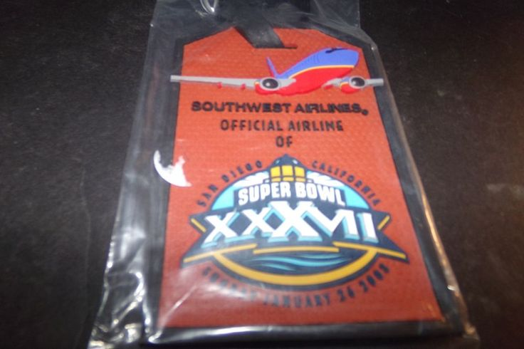 Sealed Southwest Airline Super Bowl XXXVll 37 luggage Tag 2003 Tampa Bay