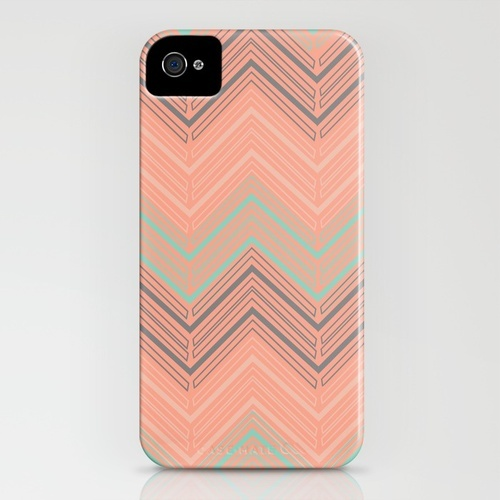 Salmon, mint, grey chevron
