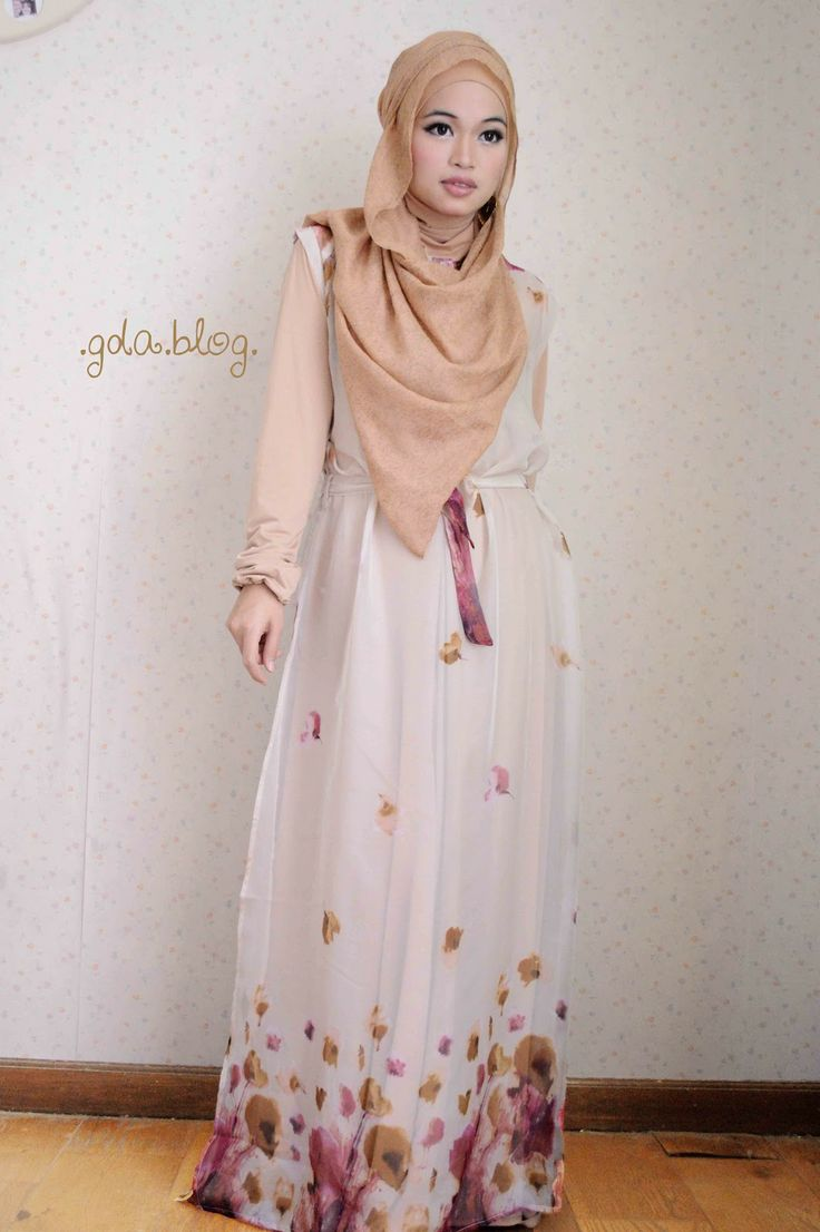 See-Through Maxi by Ghaida Tsurayya |  Who says see-throughs can never be worn by Hijabis? :) With a long sleeved maxi, it's the perfect casual look :) (tags: hijab, #hijab, see through, casual, white, beige)