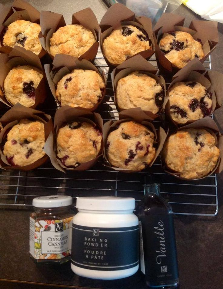 Hot blueberry muffins right out of the oven.
