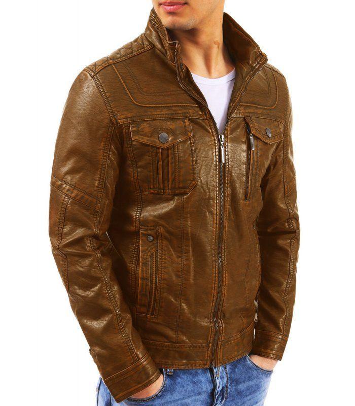Hnedá pánska kožená bunda  05796628c11