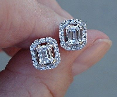 Emerald Cut Diamond Stud Earrings VS Diamonds 0.72 TCW Diamond Halo Studs