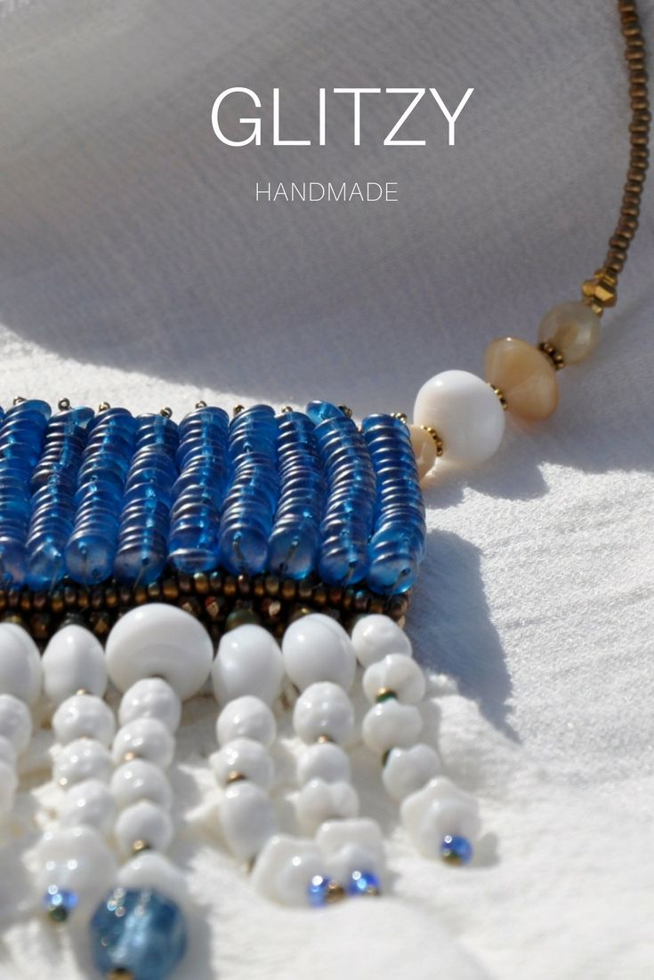 Claim your Birthday coupon code!  Beaded Necklace-HIGH-TIDE Handmade beautiful necklace weaved blue and white beads glass.