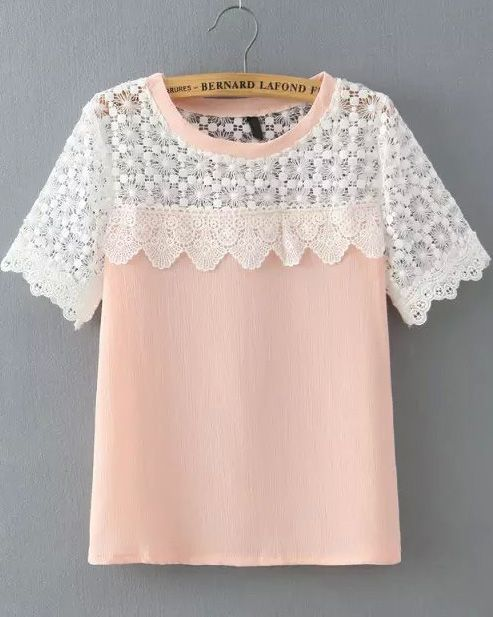 Pink Lace Short Sleeve Loose Blouse 16.00