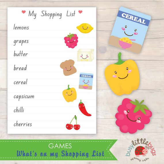 Busy Little Bugs Wha't on my Shopping List Game - Match the items on your shopping list and place them in your trolley