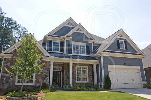 Homes With Stone And Siding Stone and Grey Siding House by
