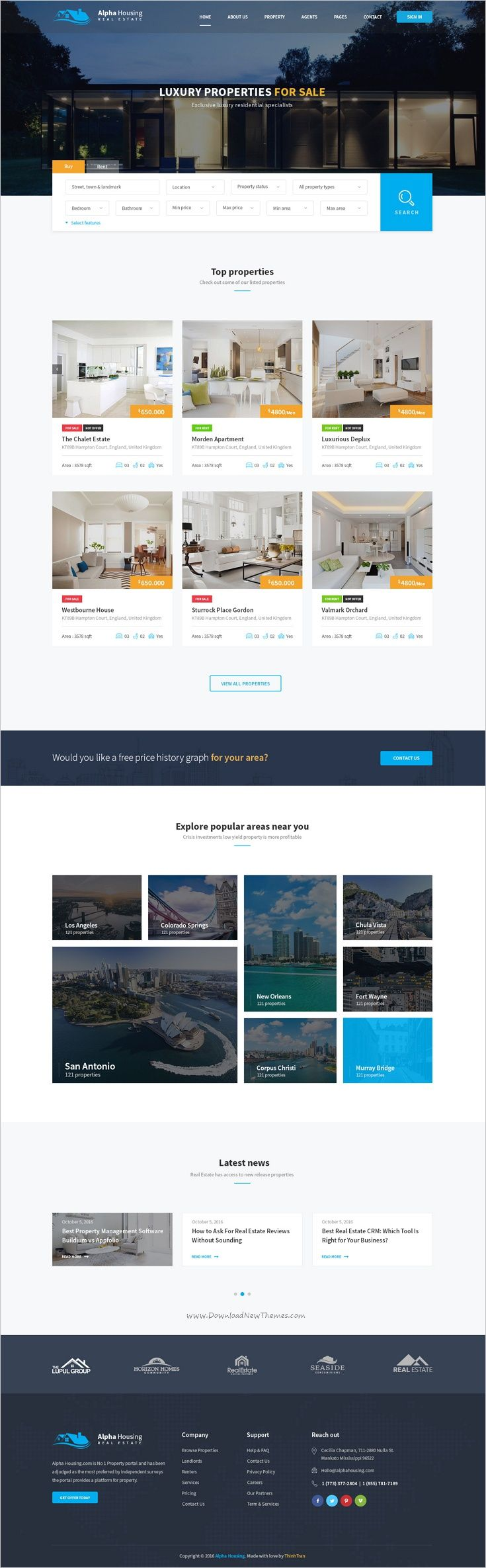 Alpha Housing is a clean and unique design #PSD template for #realestate agencies #websites with 4 homepage layouts and 24 organized PSD files download now➩ https://themeforest.net/item/alpha-housing-real-estate-psd-template/19158314?ref=Datasata