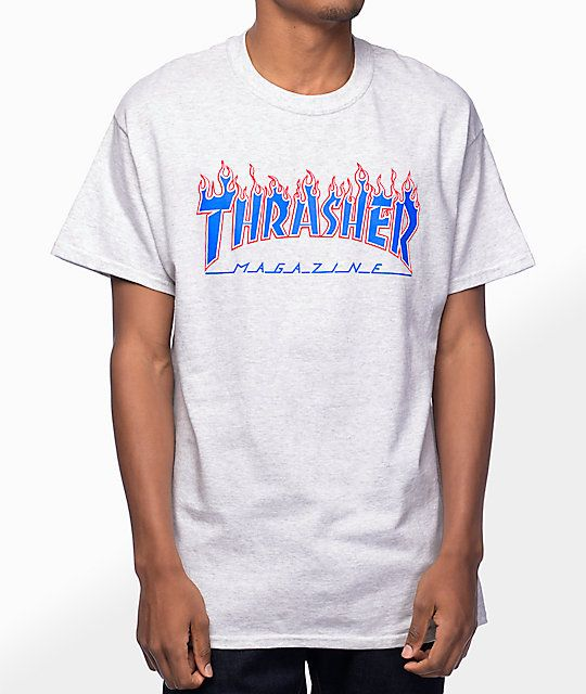9c4e8116f9b7 Thrasher Magazine Patriot Flame Ash Grey T-Shirt in 2019