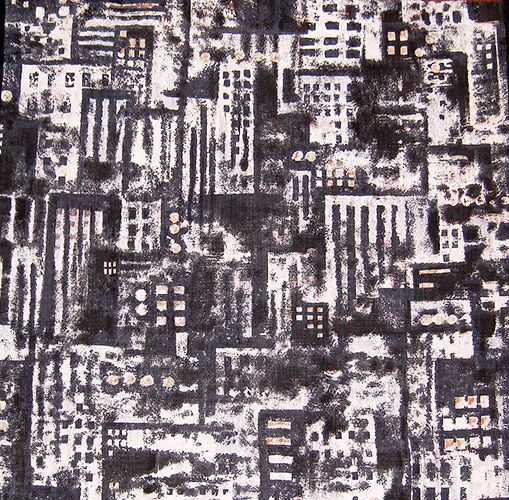 Metropolis Hand-printed Linen Panel by Elenhank Designers Inc. American, 1955