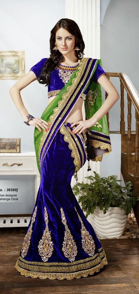 SareeStudio Green Blue Bridal Wear Embroidery Zari Stone Border Work Net Velvet