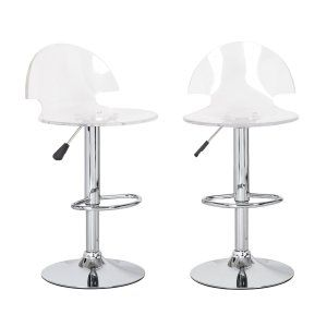 Joveco Clear Transparent Acrylic (two):  These beautiful stools have a hazy appearance to them that make you think about the sky during a storm. They are ultra modern but hold a sense of mystery to them as well. They come as a set of two so they are very affordable if you need to buy more than two of them to fill your space. They are a great addition to any space due to their unique design and interesting color.