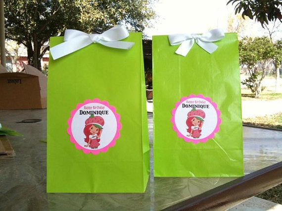 12ct strawberry shortcake TAGS for party bags by JayPeaCreations, $9.00