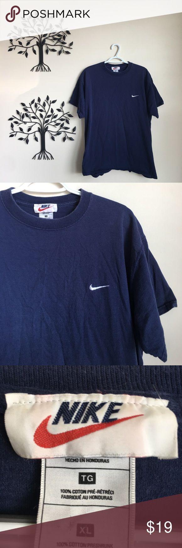Vintage Nike Swoosh Orange Swoosh T Shirt Navy Vintage
