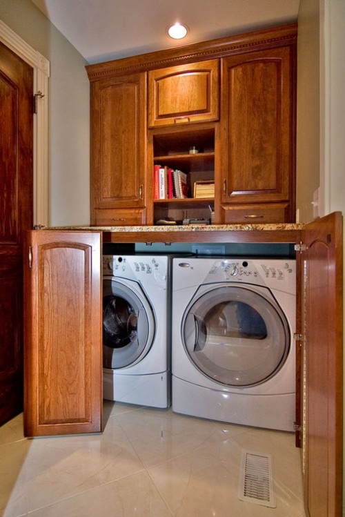 Stacked Washer Dryer Laundry Room With Sink