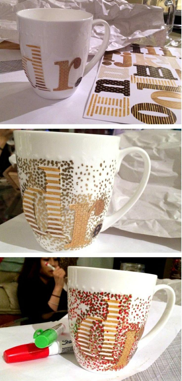 Tasse selber gestalten Designideen Punkten Buchstaben