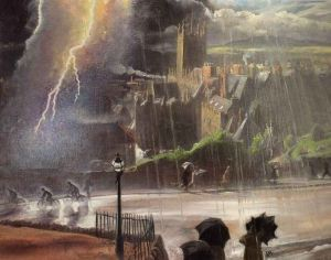 Storm over our town, Malvern - Dame Laura Knight - The Athenaeum
