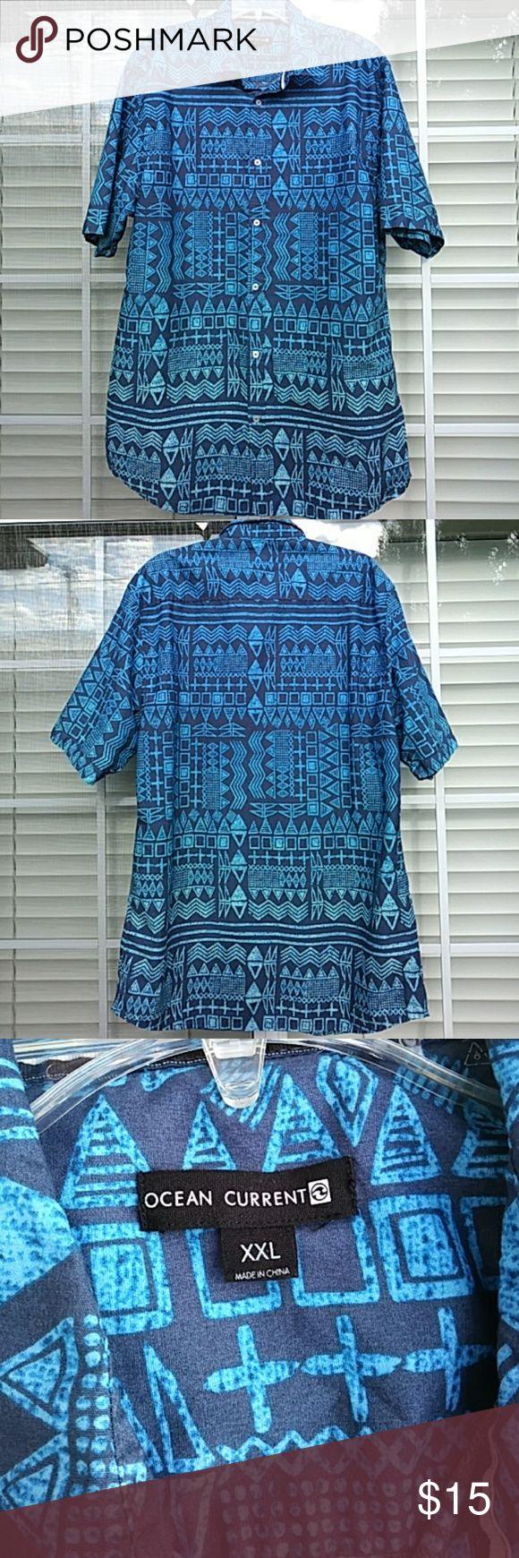 OCEAN CURRENT - XXL OCEAN CURRENT 100% cotton, short sleeve, print, button down shirt. Blue, easy care. Size XXL. Ocean Current Shirts Casual Button Down Shirts