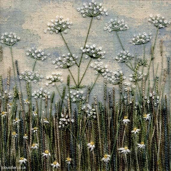 jobutcher: Cow Parsley and Daisy Meadow ... Oh! Wow! (Blue linen with white washed clouds and stitch....major fun)