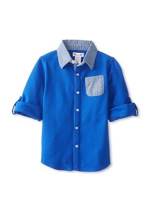 49% OFF Hippototamus Boy's Piquet Button-Up Shirt (Blue/Chambray)