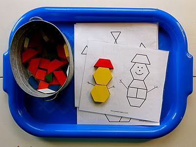 busy basket...Winter-themed Pattern Block Puzzles working with shapes