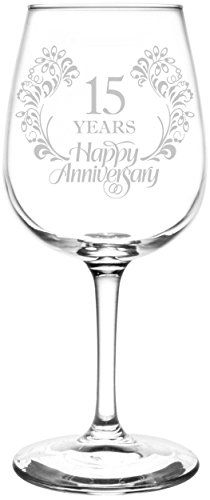 15th | Beautiful & Elegant Floral Happy Anniversary Wedding Ring Inspired - Laser Engraved Libbey All-Purpose Wine Glass.  Fast Free Shipping & 100% Satisfaction Guaranteed.  The Perfect Gift!