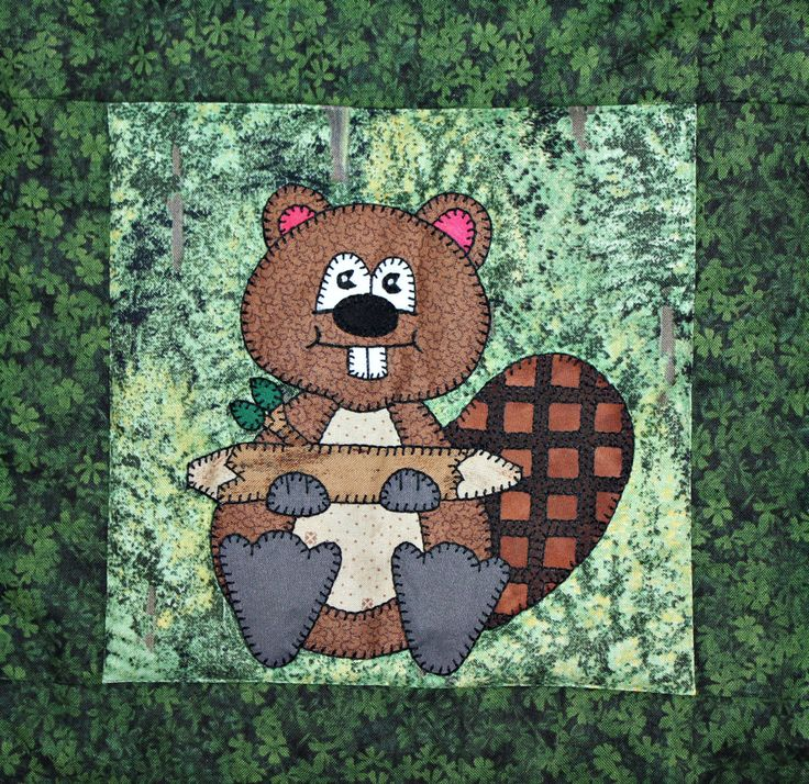 Busy beaver PDF applique quilt block pattern; North American forest or woodland…