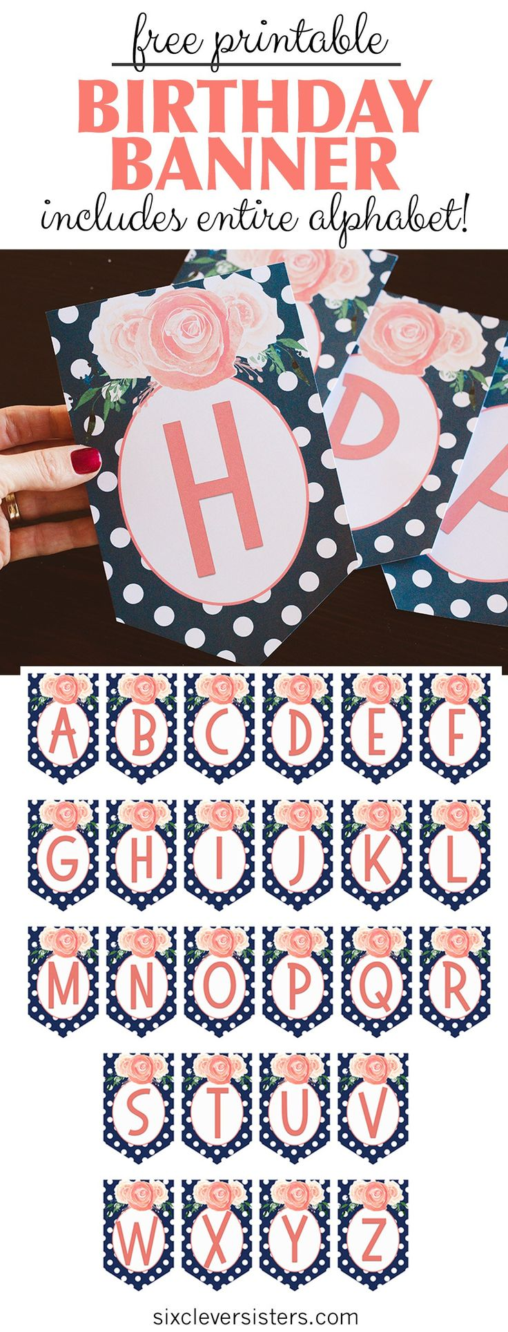 FREE PRINTABLE Happy Birthday Banner and Alphabet! Modern and trendy - black and white stripes with gold foil wreath and bright pink letters!