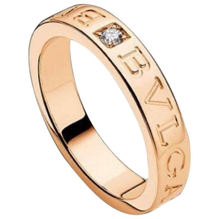 signed bulgari 18kt pink rose gold diamond band size 75 new and never worn