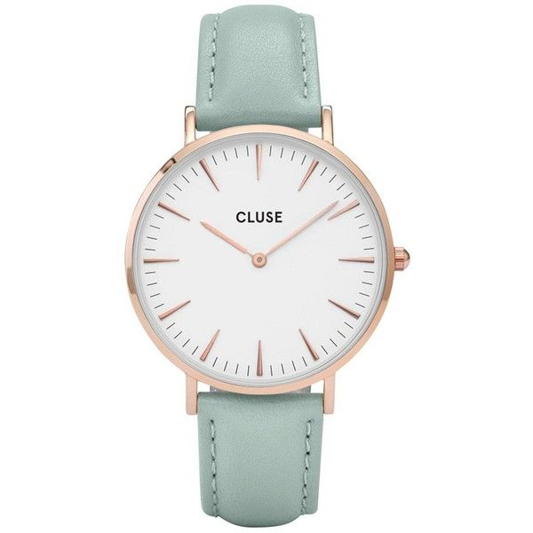 Cluse Cluse La BohÈMe Rose Gold Mint Leather Strap Ladies Watch ($100) ❤ liked on Polyvore featuring jewelry, watches, buckle watches, bezel jewelry, red gold jewelry, water resistant watches and rose gold tone watches