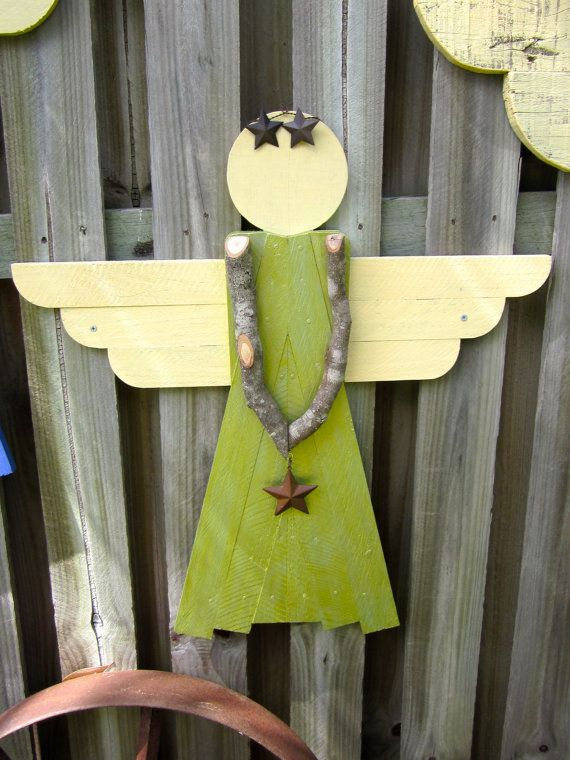 Rustic Wooden Garden Angel  Garden by Johnny5Collectables on Etsy, $40.00