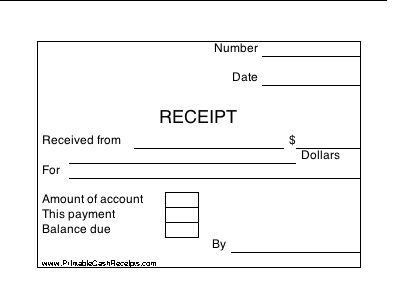 Four cash receipts per page, with boxes in which to indicate payment amount as well as total balance due on the account. Free to download and print