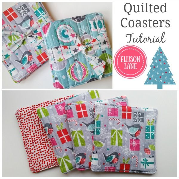 Handmade Holidays Giveaway at Ellison Lane. Lots of great ideas for gifts and inspiration for making your holidays handmade. Quilted Coaster Tutorial.