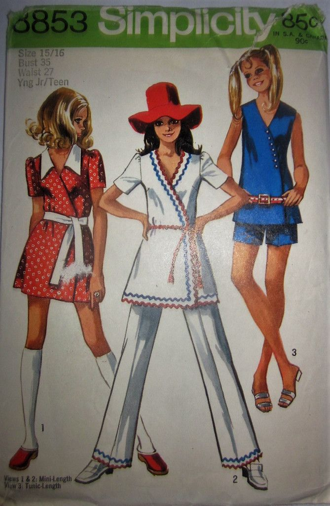 Simplicity 8853 Junior Teens Girl or Women's 70s Mini-Dress or Tunic & Shorts or Pants Sewing Pattern Bust 35