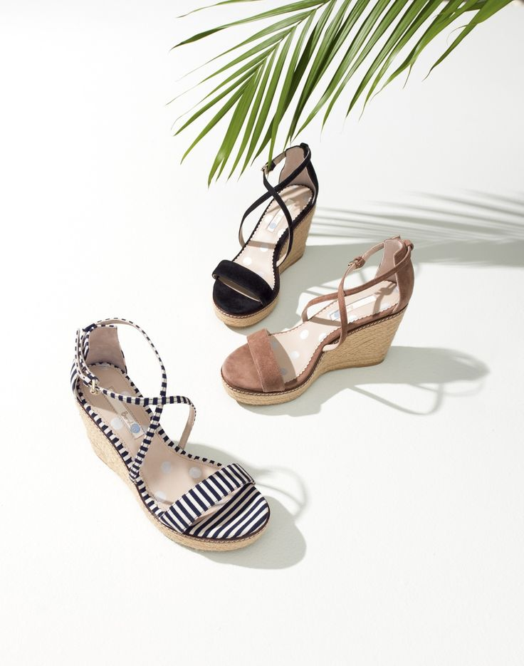 Whoever invented the super stylish, dance-all-night comfortable wedge deserves the Nobel Prize. This pair teams a chunky platform heel with delicate straps for an ultra-feminine look. Choose from soft suede or casual canvas in dark caramel, black or navy and pearl stripes. Decisions, decisions.