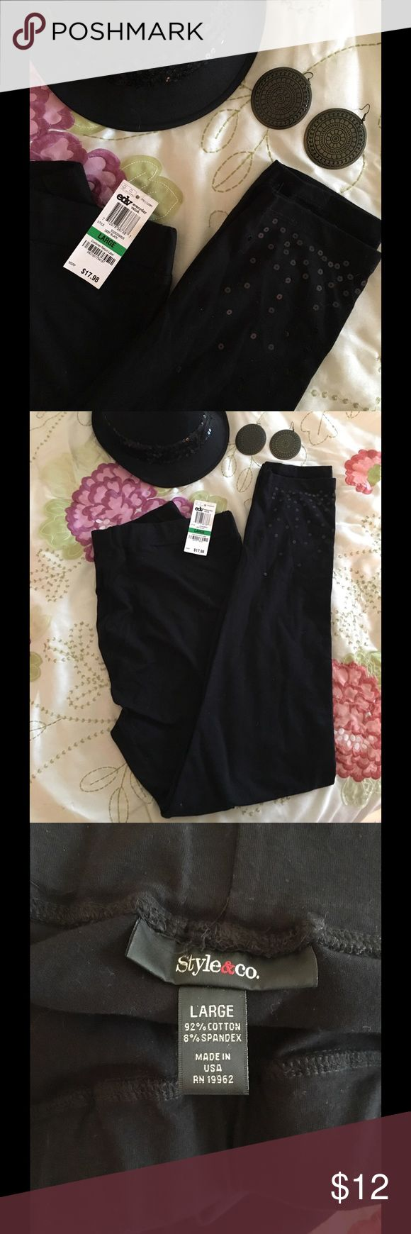 Style & Co black sequin leggings Style & Co black sequin leggings. Sequin only on bottom of leggings. NWT. Never worn. Size L. PROPS: 1) earrings FOR SALE in another listing, 2) fedora FOR SALE in another listing. Feel free to bundle! Style & Co Pants Leggings