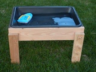 DIY water table...use scrap wood & Plastic cement mixing tub for a very easy..cost effective project...the kids will enjoy all summer