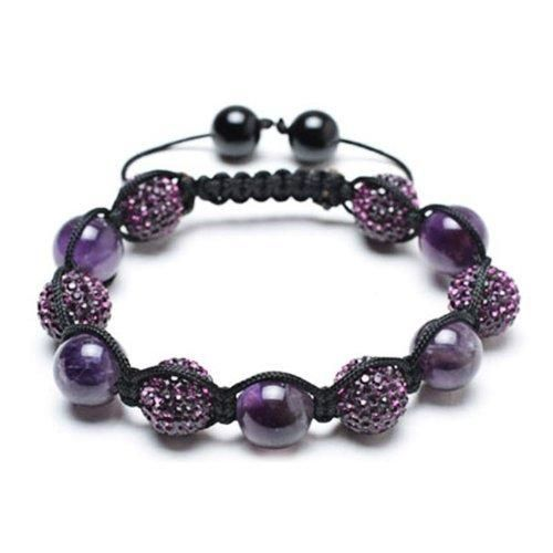 Bling Jewelry Bracelet Shamballa Inspired Purple Crystal Bead Amethyst Stones