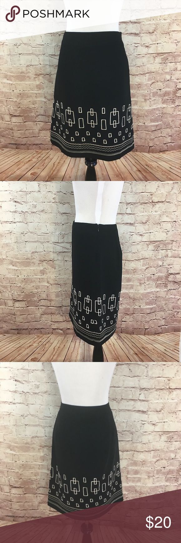 """Loft Pencil Petite Skirt Cute black pencil skirt with white stitching pattern from the Loft. The skirt is fully lined with a  side hidden zipper.  Polyester with Acetate lining. Size 6 Petite. Waist 30"""". Length 22"""". Like new condition.  No flaws or signs of wear. LOFT Skirts Pencil"""