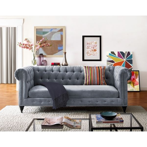 Hanny Grey Velvet Sofa | Overstock.com Shopping - The Best Deals on Sofas & Loveseats