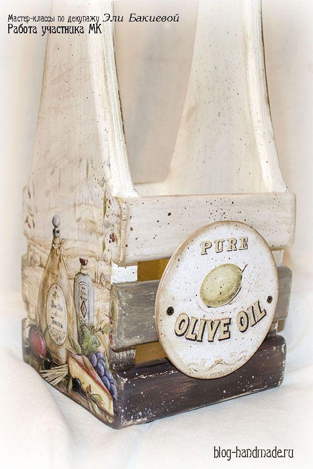 Пошаговый фото мастер класс по декупажу реечного ящика для вина в стиле прованс