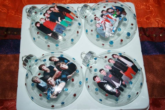 personalize this with photos of friends  glass craft ornaments at any craft store