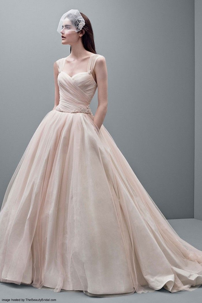White By Vera Wang Taffeta Ballgown With Draped Tulle Detail Style