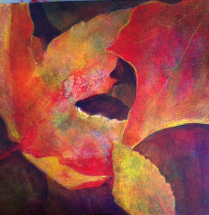 These fall leaves were painted over a layered acrylic background. The fox silhouette appeared out of nowhere!