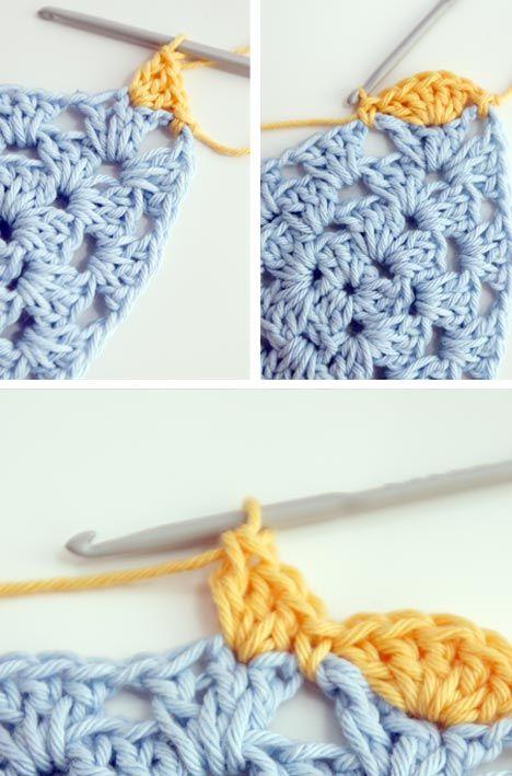 Fantástico Triángulo Patrón Carenado Crochet Embellecimiento ...